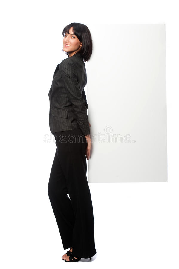 Bizneswoman z pustą kartą fotografia royalty free