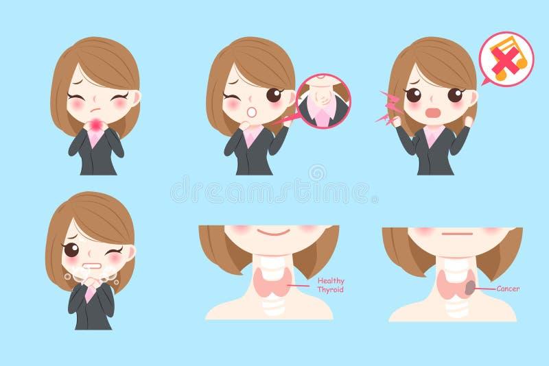 Bizneswoman z rakiem tarczycy ilustracja wektor