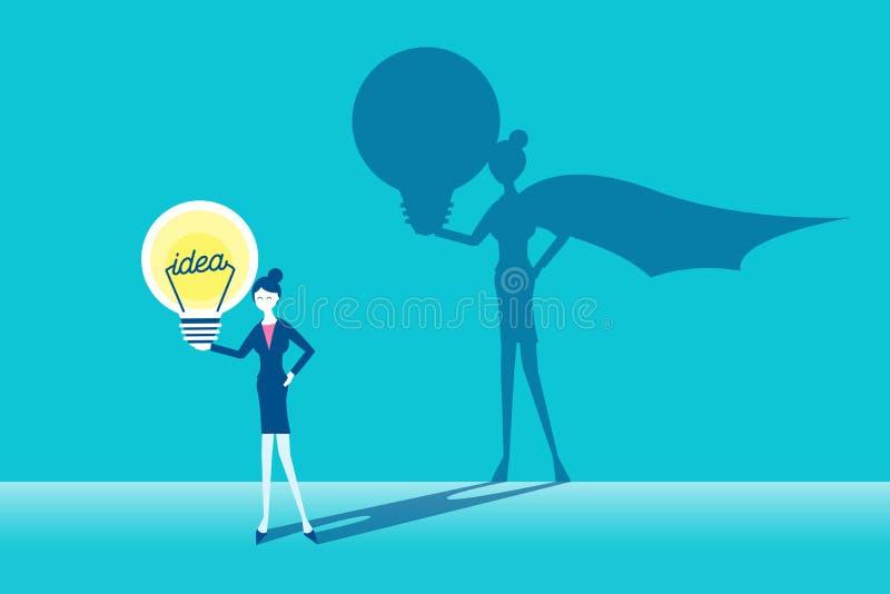 Bizneswoman z super pojęciem ilustracja wektor