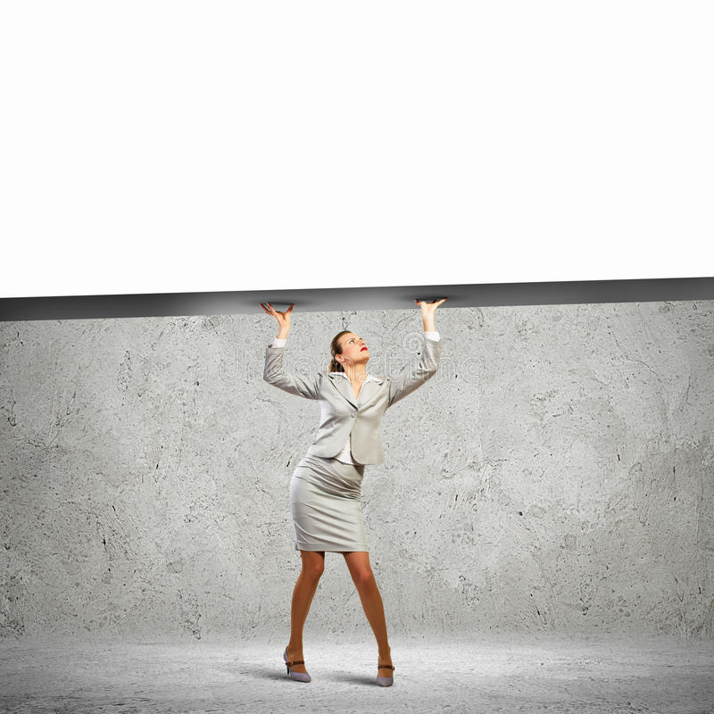 Bizneswoman z sztandarem obraz stock
