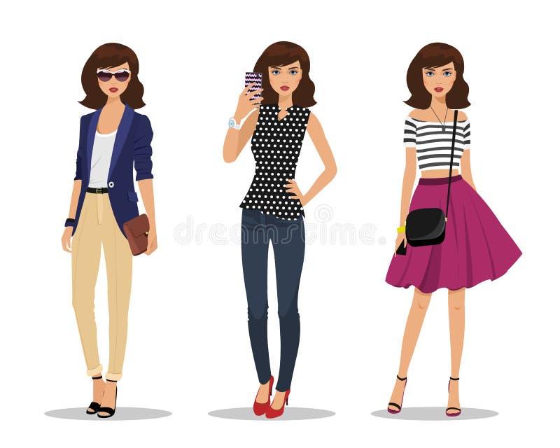 Bizneswoman z torbą, młodą dziewczyną robi selfie i romantyczną stylową dziewczyną, Kobiety w modzie odziewają ilustracja wektor