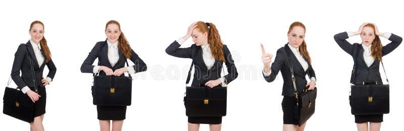 Bizneswoman z torebk? odizolowywaj?c? na bielu zdjęcie royalty free