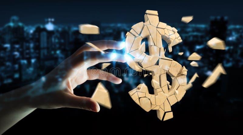 Bizneswoman z wybuchać dolarowego waluty 3D rendering royalty ilustracja