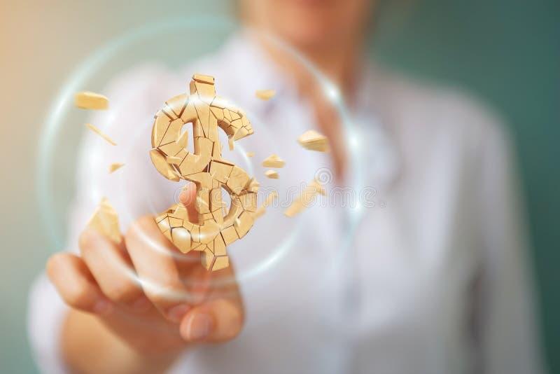Bizneswoman z wybuchać dolarowego waluty 3D rendering ilustracji