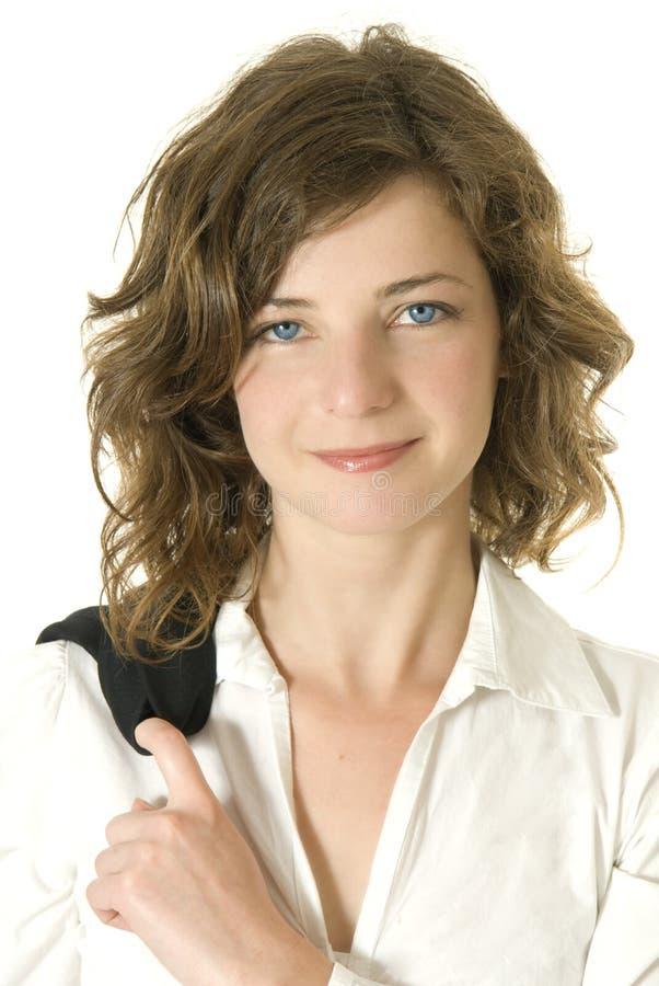 bizneswoman zadawalający uśmiech zdjęcie stock