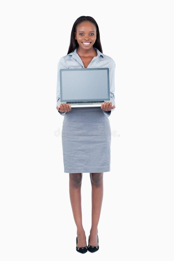 bizneswomanu śliczny laptopu portreta seans fotografia stock