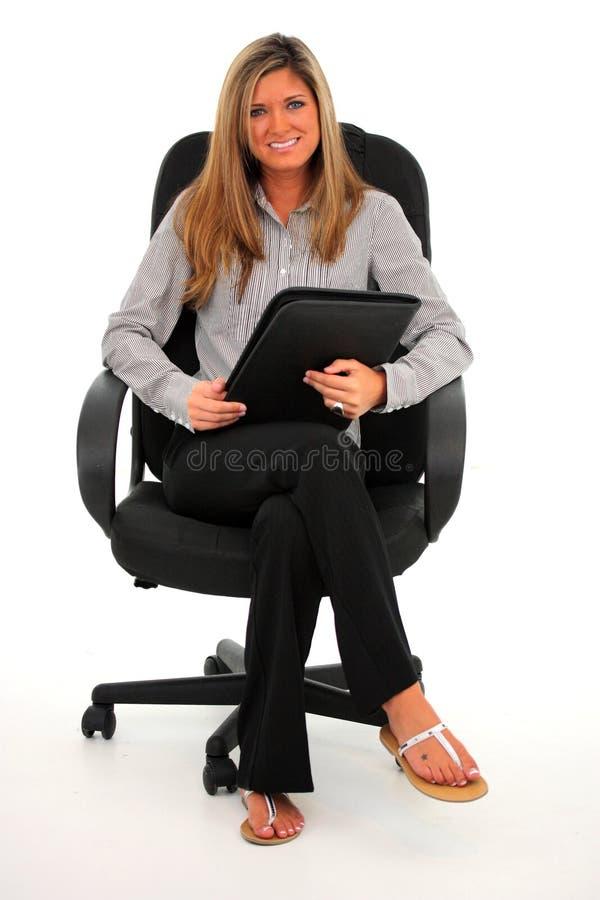 bizneswomanu białe tło obraz stock