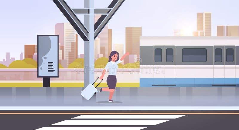 Bizneswomanu bieg łapać taborowej biznesowej kobiety z bagażem na stacji kolejowej miasta transportu publicznego kobiety kreskówc ilustracji