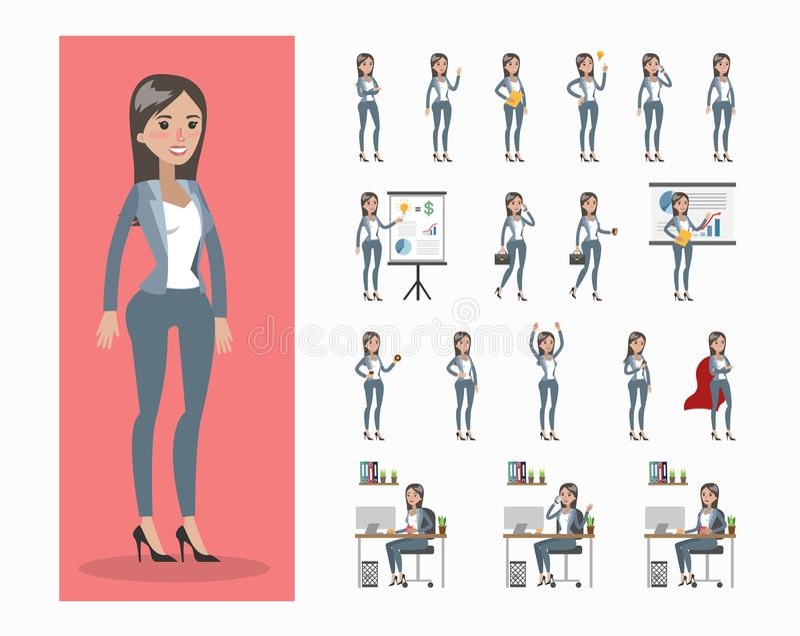Bizneswomanu charakter - set ilustracji