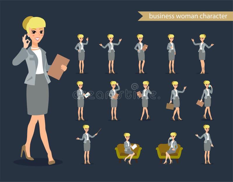 Bizneswomanu charakter - set Animuje charakteru Żeński osobistość konstruktor Różne kobiet postury kreskówki serc biegunowy setu  ilustracji