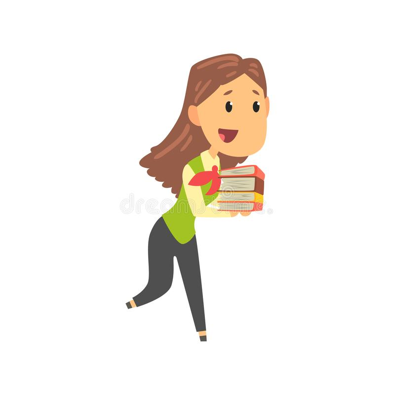 Bizneswomanu charakter w formalnej odzieży przewożenia stosie dokument falcówki, biznesowa osoba przy pracy kreskówki wektorem ilustracja wektor