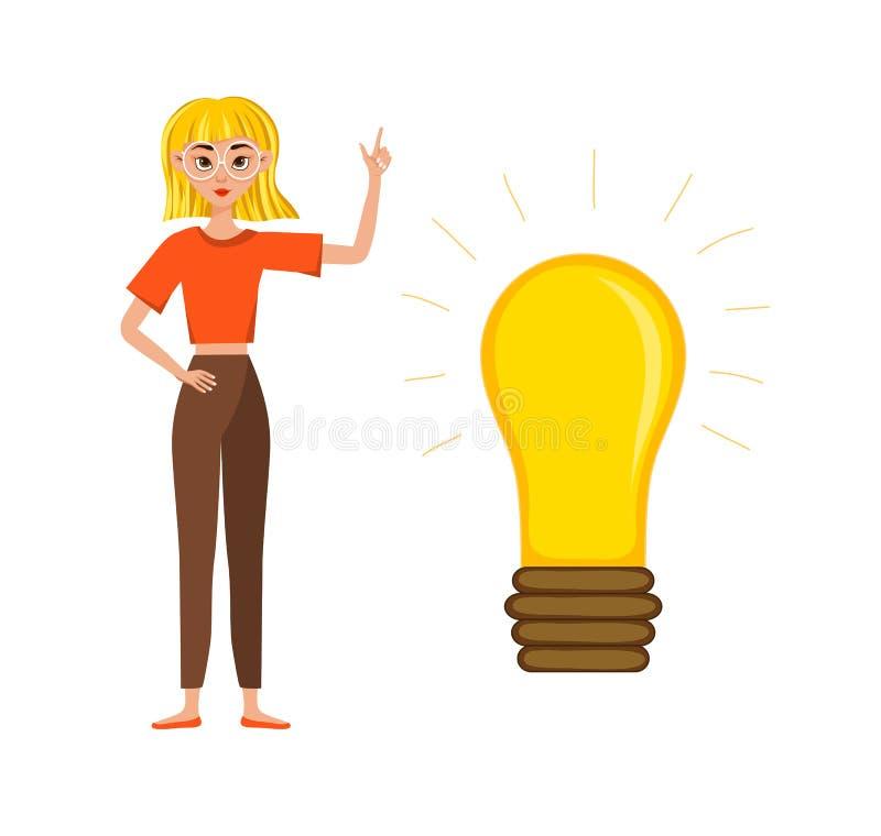 Bizneswomanu charakteru projekta pracuj?cy set Pojęcie pomysł, brainstorming r?wnie? zwr?ci? corel ilustracji wektora ilustracji