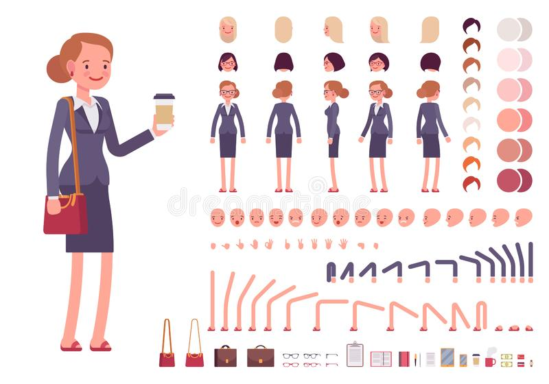 Bizneswomanu charakteru tworzenia set royalty ilustracja