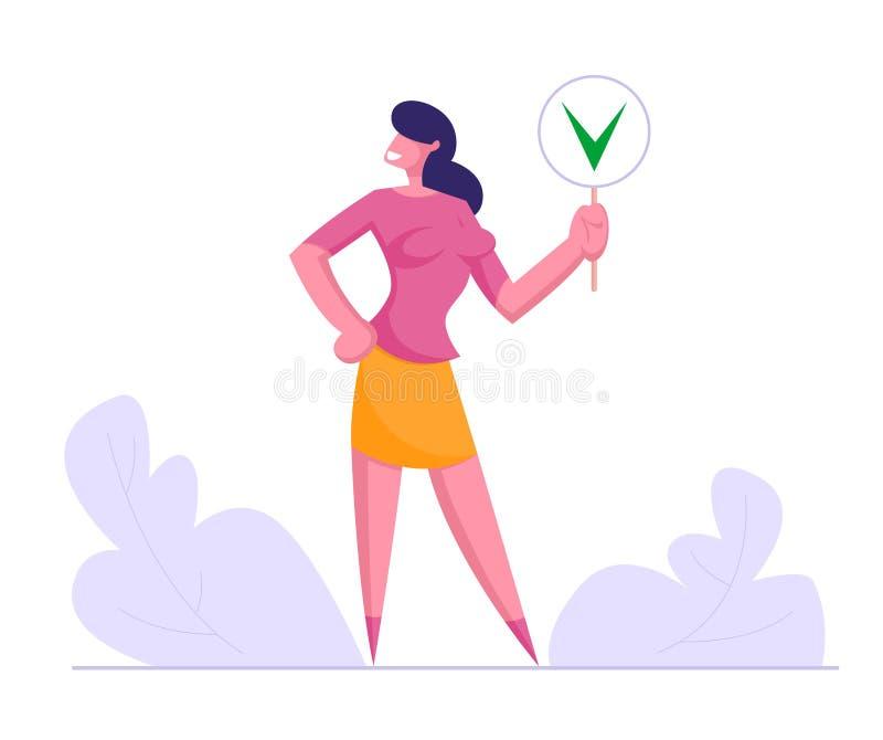 Bizneswomanu chwyta znak z Zielonym czekiem Mark symbol, Tak, dziewczyna Zgadzająca się z socjalny opinią, Głosuje, wybory, polit royalty ilustracja