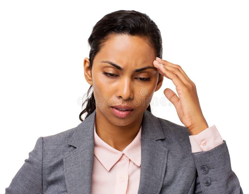 Bizneswomanu cierpienie Od migreny fotografia stock