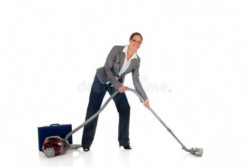 bizneswomanu cleaner próżnia zdjęcia royalty free