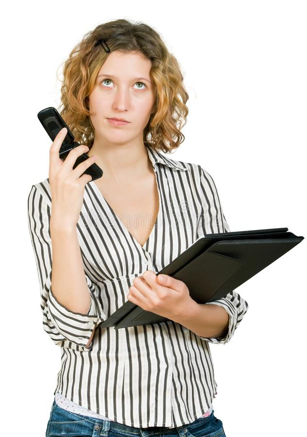 Bizneswomanu falcówki telefonu potomstwa