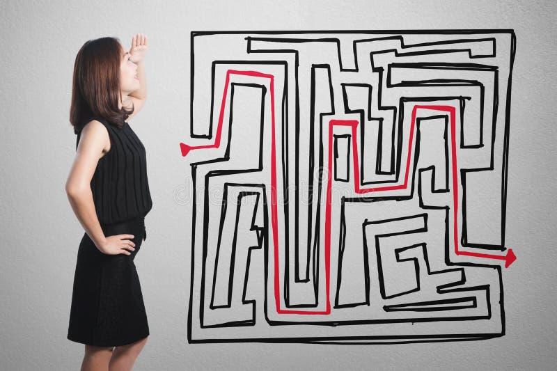Bizneswomanu główkowanie przy biznesowym pojęcie labiryntu mapy wykresem o zdjęcia stock