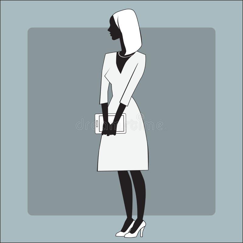 Bizneswomanu gadżetu biuro ilustracja wektor