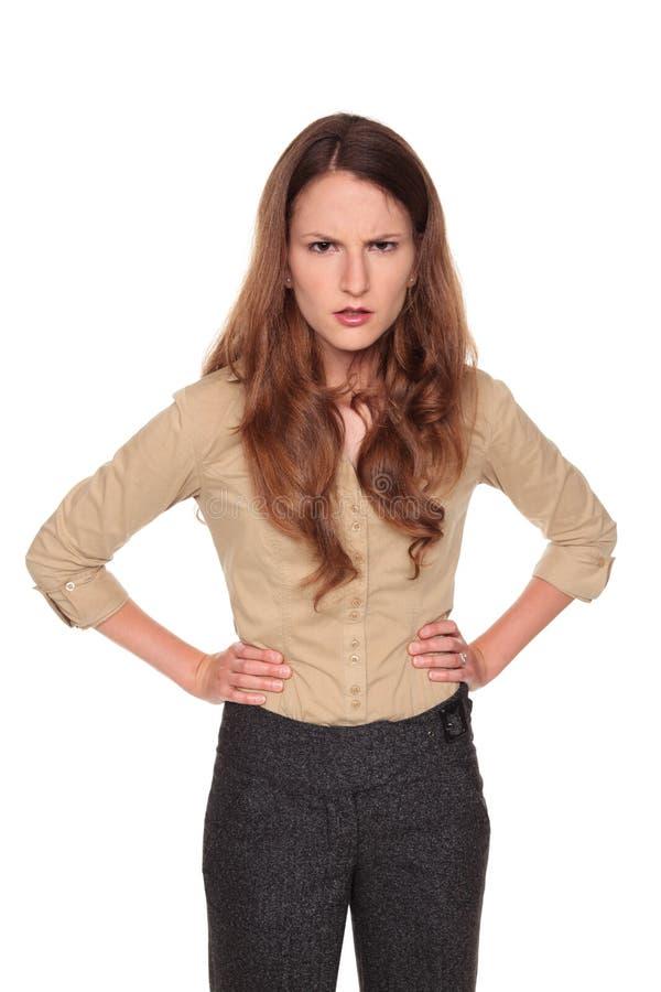 bizneswomanu gniewny frown zdjęcia royalty free