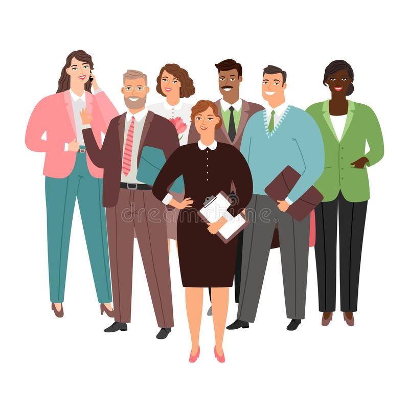 Bizneswomanu i zawody międzynarodowi businessteam wektor odizolowywający na białym tle ilustracja wektor