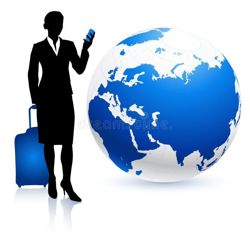 bizneswomanu kuli ziemskiej podróżnik ilustracji