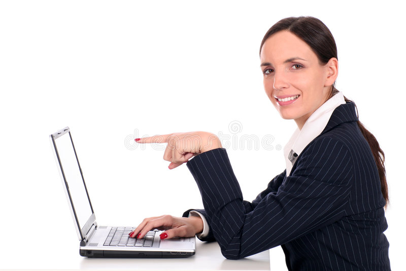 bizneswomanu laptopa do zdjęcia royalty free