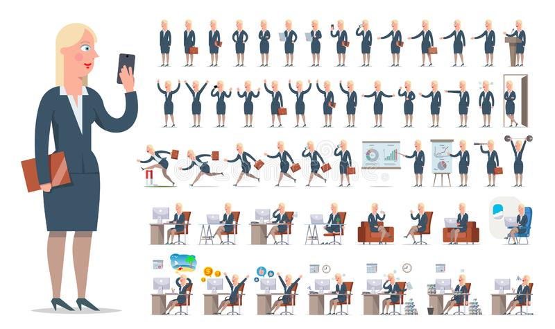 Bizneswomanu lub kierownika charakteru tworzenia duży set Różni widoki, gesty, emocje zdjęcie royalty free