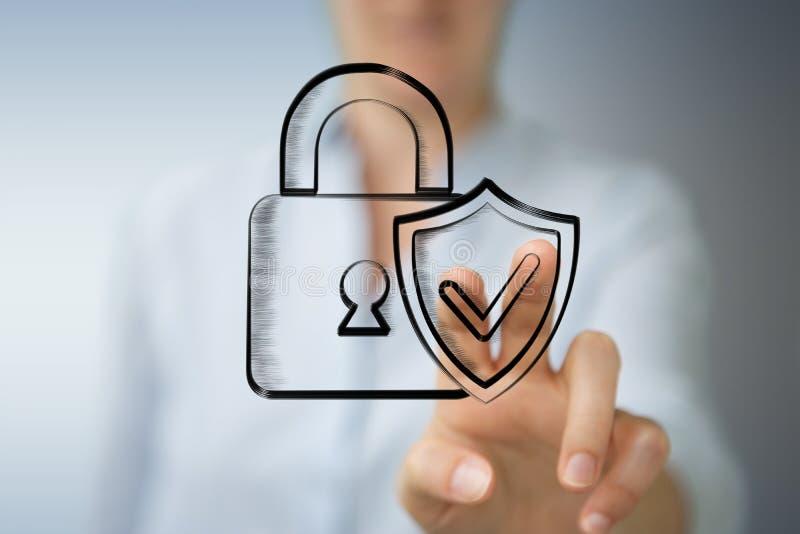 Bizneswomanu macanie i mienie pociągany ręcznie antivirus system ilustracja wektor