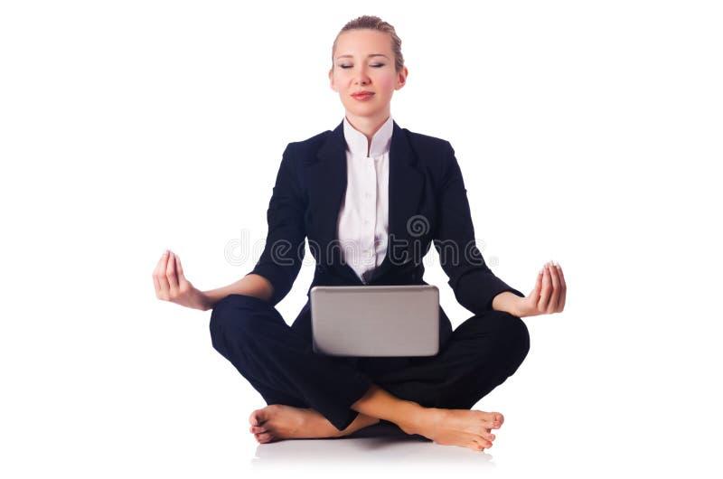 Bizneswomanu medytować zdjęcie royalty free