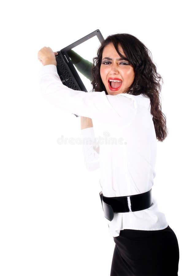 bizneswomanu miażdżącego dzień ciężki komputer osobisty zdjęcie stock
