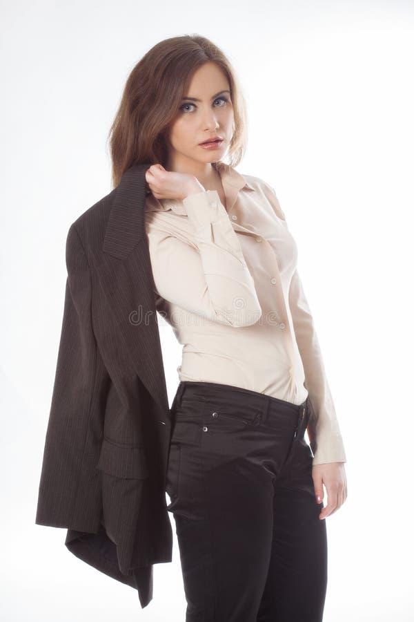 Bizneswomanu mienia kurtka obraz stock