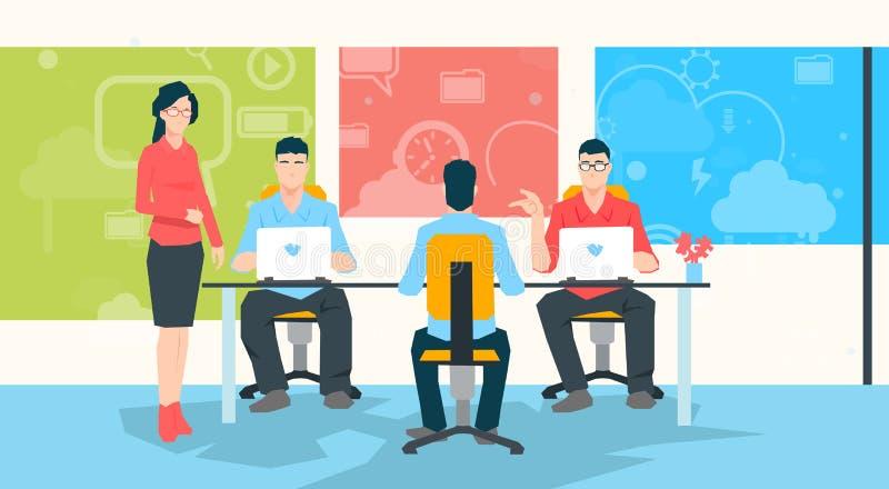 Bizneswomanu nauczyciela Grupowego działania Na laptopu profesora uniwersyteckiego uczniach ludzie ilustracji