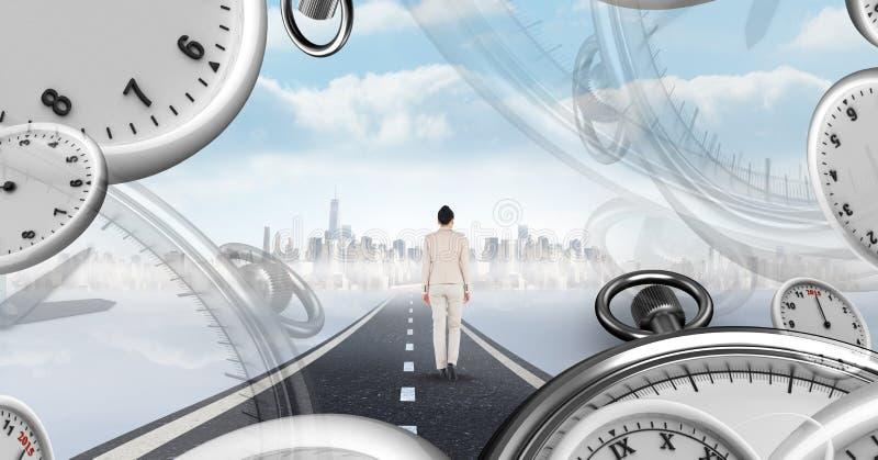 Bizneswomanu odprowadzenie na drodze z surrealistycznymi czasów zegarami perspektywicznymi royalty ilustracja