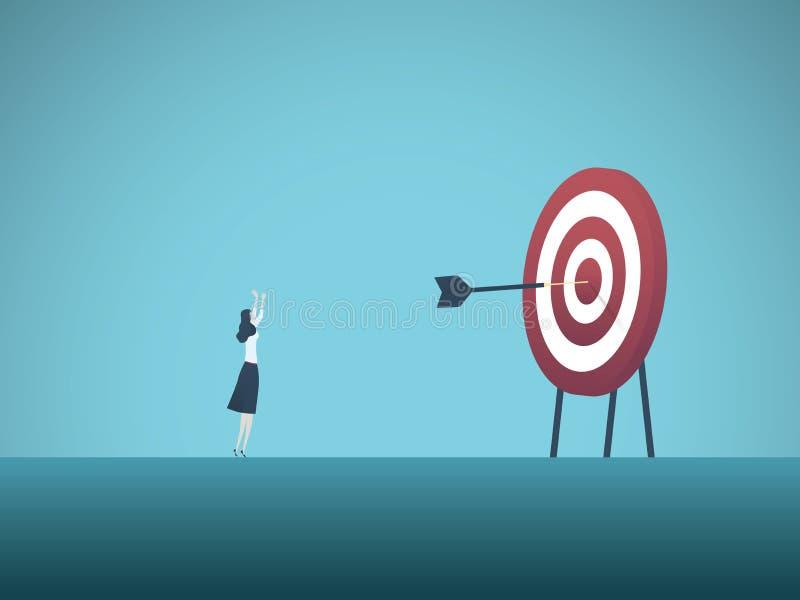 Bizneswomanu osiągania bullseye z strzałka wektoru pojęciem Symbol sukces, zwycięstwo, osiągnięcie cele i cele, ilustracja wektor