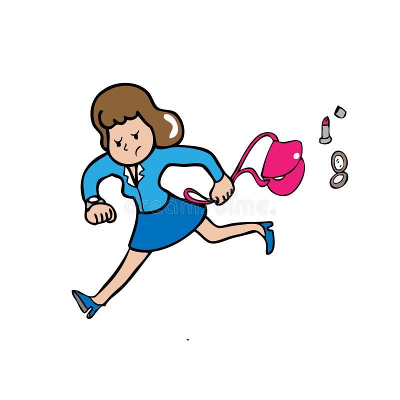 Bizneswomanu pośpiech ilustracja wektor
