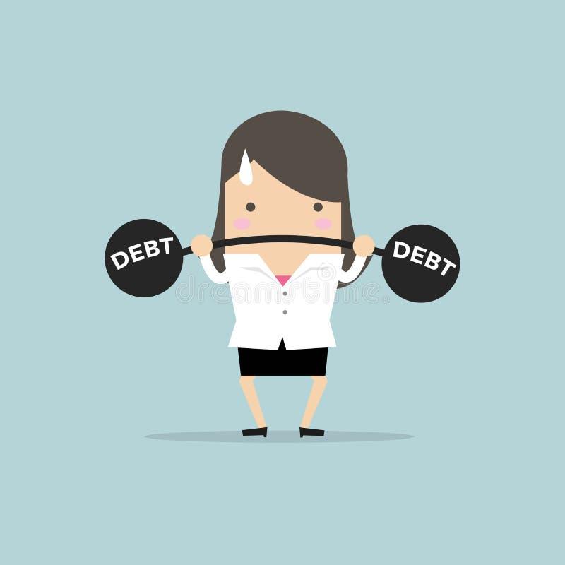 Bizneswomanu podnośny wagi ciężkiej dług ilustracja wektor
