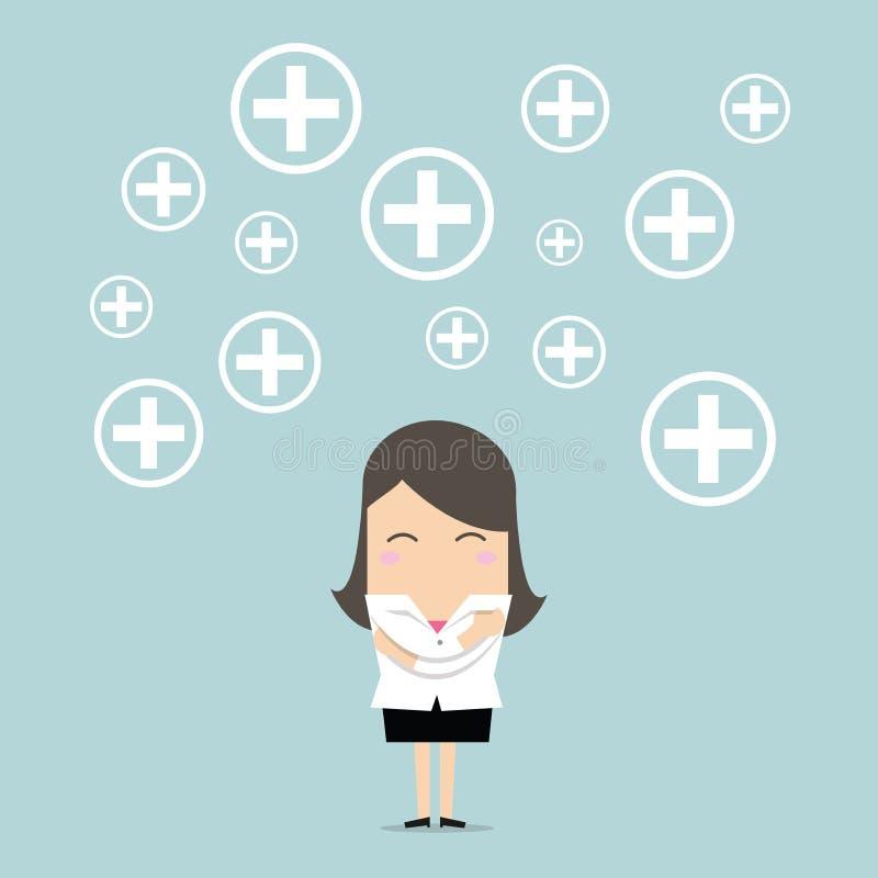 Bizneswomanu pozytywu główkowanie wektor ilustracja wektor