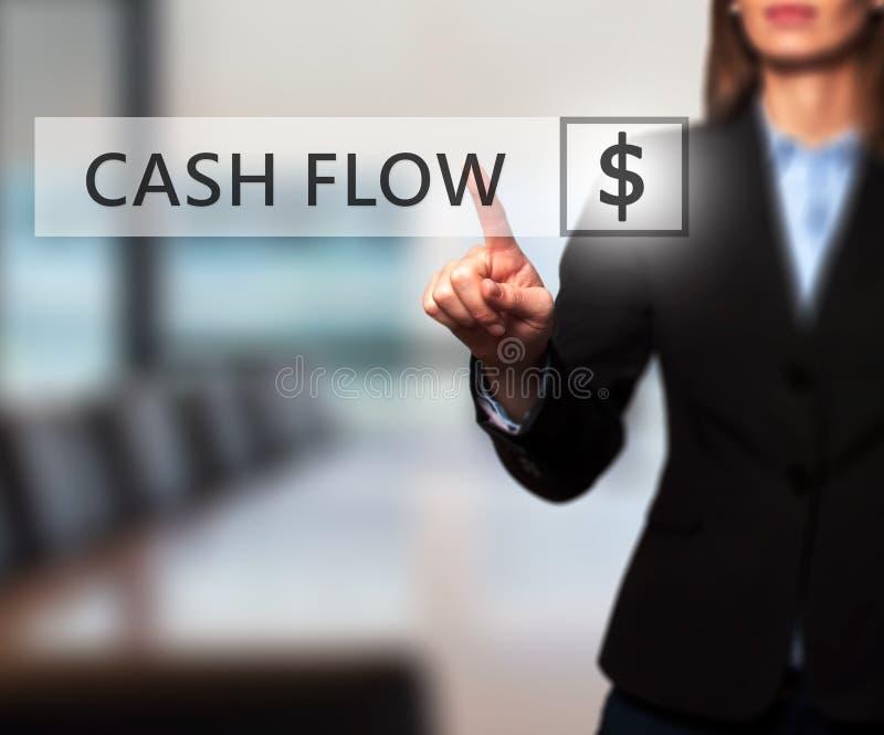 Bizneswomanu przepływu gotówki naciskowy guzik na wirtualnych ekranach obrazy stock