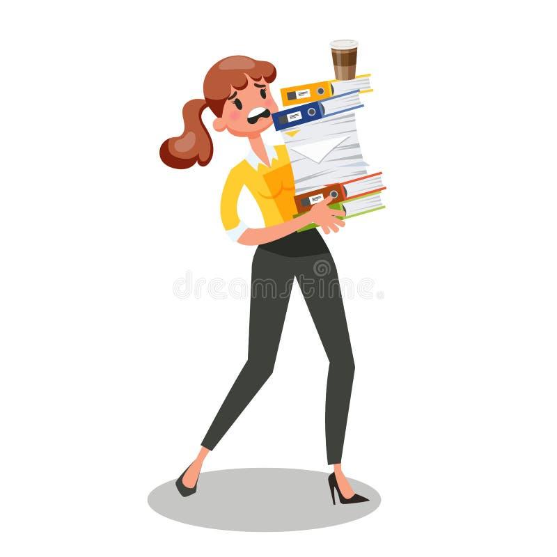 Bizneswomanu przewożenia stos dokumenty Ruchliwie żeński charakter ilustracji