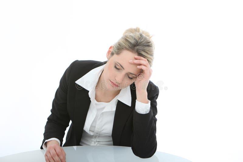 bizneswomanu przygnębiony oklapnięty obraz stock