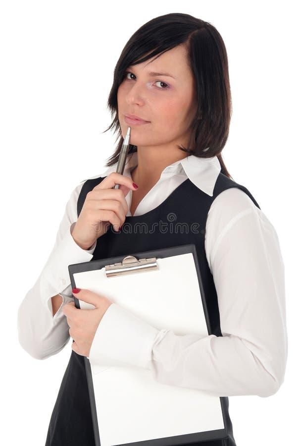 bizneswomanu schowka długopis. fotografia royalty free