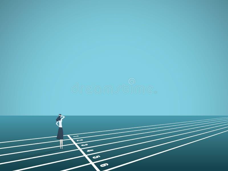 Bizneswomanu standint przy sportowym szlakowym początku wektoru pojęciem Symbol wyzwanie, sposobność, ciężka praca ilustracja wektor