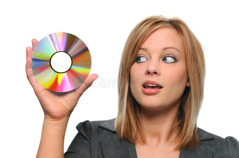 bizneswomanu super cd gospodarstwa fotografia stock