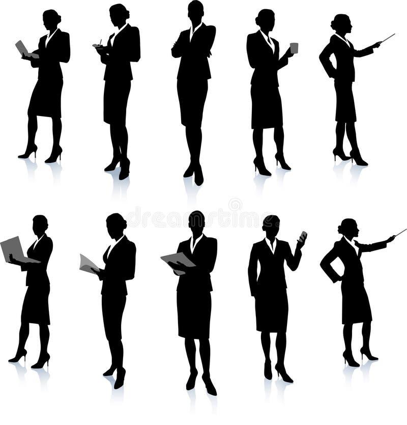 Bizneswomanu Sylwetki Kolekcja ilustracji
