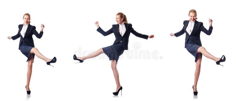 Bizneswomanu szczęśliwy odosobniony na bielu zdjęcie royalty free