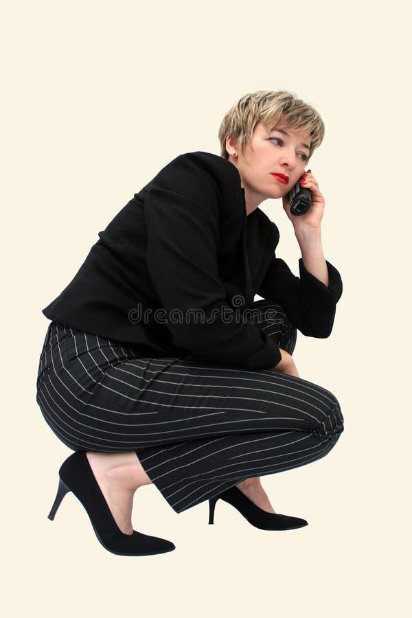 bizneswomanu telefon zdjęcie royalty free