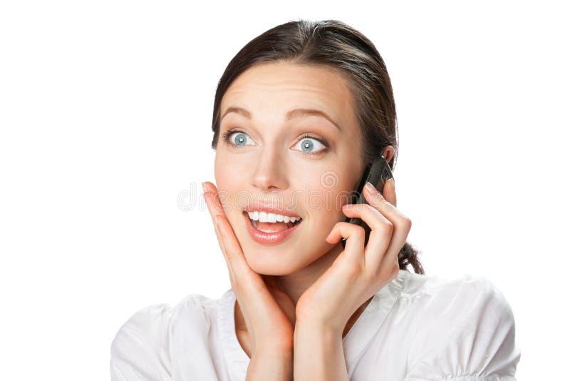 bizneswomanu telefon komórkowy obrazy royalty free