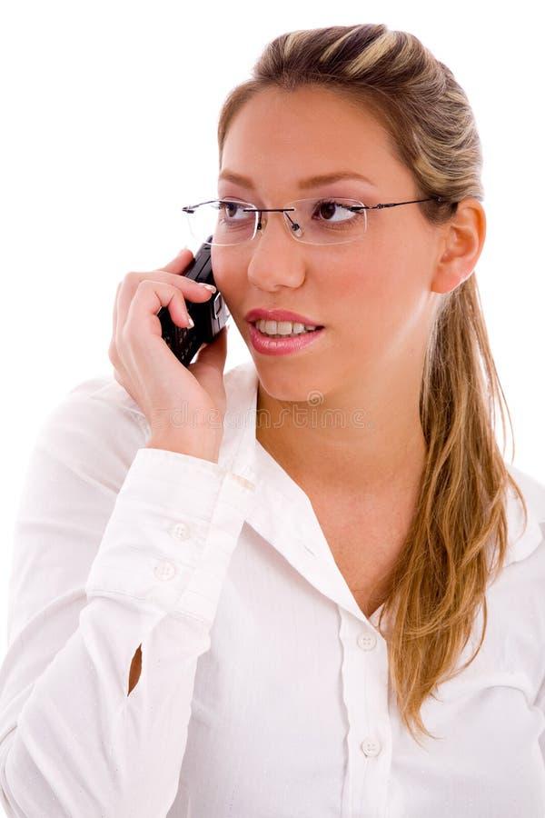 bizneswomanu telefon komórkowy portreta target2819_0_ obraz stock