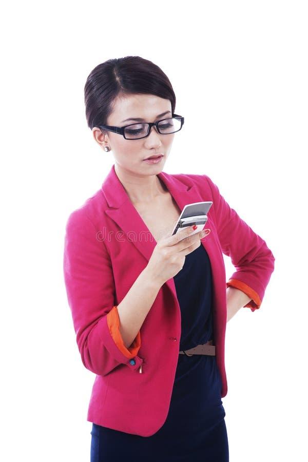 Bizneswomanu Telefonu Używać Obraz Stock